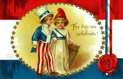 Postcard art - July 4th: The Day We Celebrate, 1908 (small)