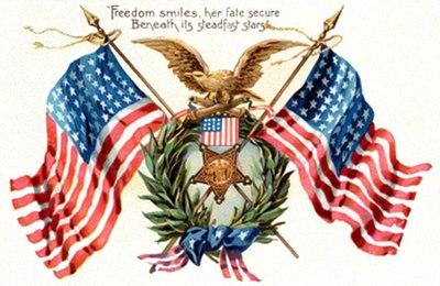 Postcard art - Freedom smiles, her fate secure - GAR - Tuck, circa 1908
