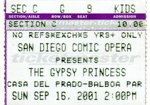 Gypsy Princess ticket, 2001