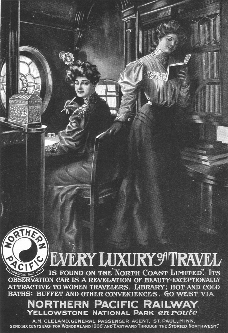 Northern Pacific Railway, Observation-Library Car - advertisement in Harper's Magazine, 1906