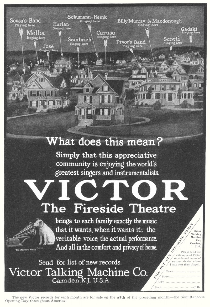 Victor Talking Machine Co., The Fireside Theatre - advertisement in Harper's Magazine, September 1907