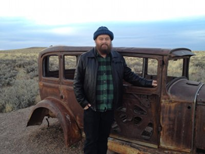 Robert W. Franson and abandoned auto - Old Route 66 Memorial, Painted Desert, Arizona - Dec 2012 (small)