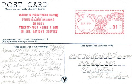 Postcard text - Mailomat, New York City, 16 September 1944 - Donald L. Franson (small)