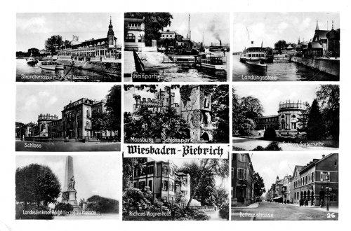 Postcard photo - 9 prewar views of Wiesbaden-Biebrich, Germany (small)