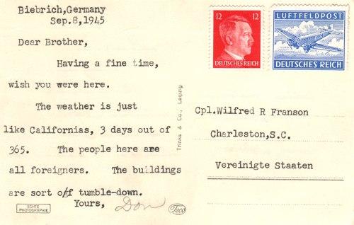 Postcard text - Biebrich, Germany, 8 Sept 1945 - Donald L. Franson (small)