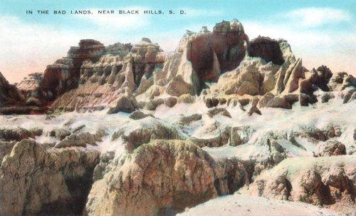 Postcard photo - Badlands, near Black Hills, South Dakota (small)