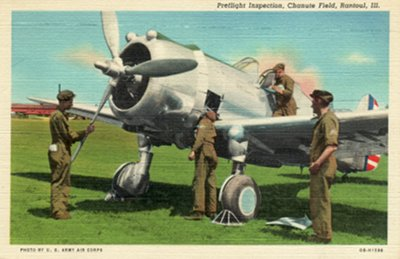 Postcard photo - U.S. Army Air Corps Preflight Inspection, Chanute Field, Illinois (small)