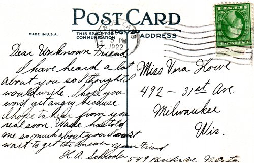 Postcard text - May Christmas find you, 21 December 1922 - Vera Howe Franson (small)