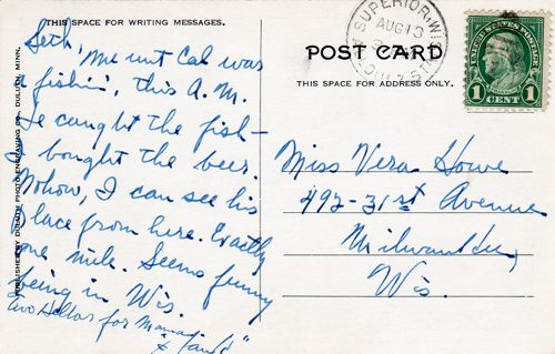 Postcard text - Coolidge's Summer White House on the Brule, aoa 13 August 1928 - Vera Howe Franson (small)