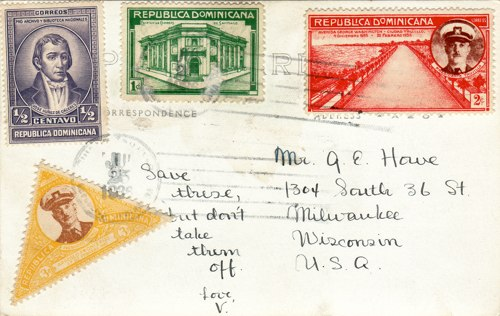 Postcard text - Casa Diego Colon, Trujillo, Dominican Republic, 25 July 1936 - Vera Howe Franson (small)