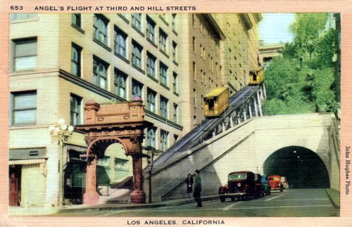 Postcard photo - Angel's Flight, Los Angeles, 21 August 1952 (small)