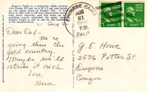 Postcard text - Angel's Flight, Los Angeles, 21 August 1952 - Vera Howe Franson (small)