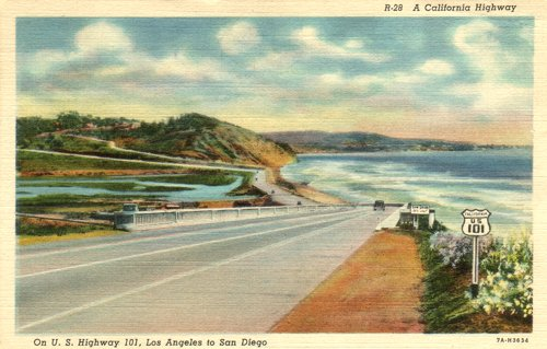 Postcard photo - U.S. Highway 101: coast in San Diego County, California (small)