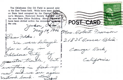 Postcard text - Capitol Oil Wells, Oklahoma City, 14 May 1946 - Wilfred R. Franson (small)