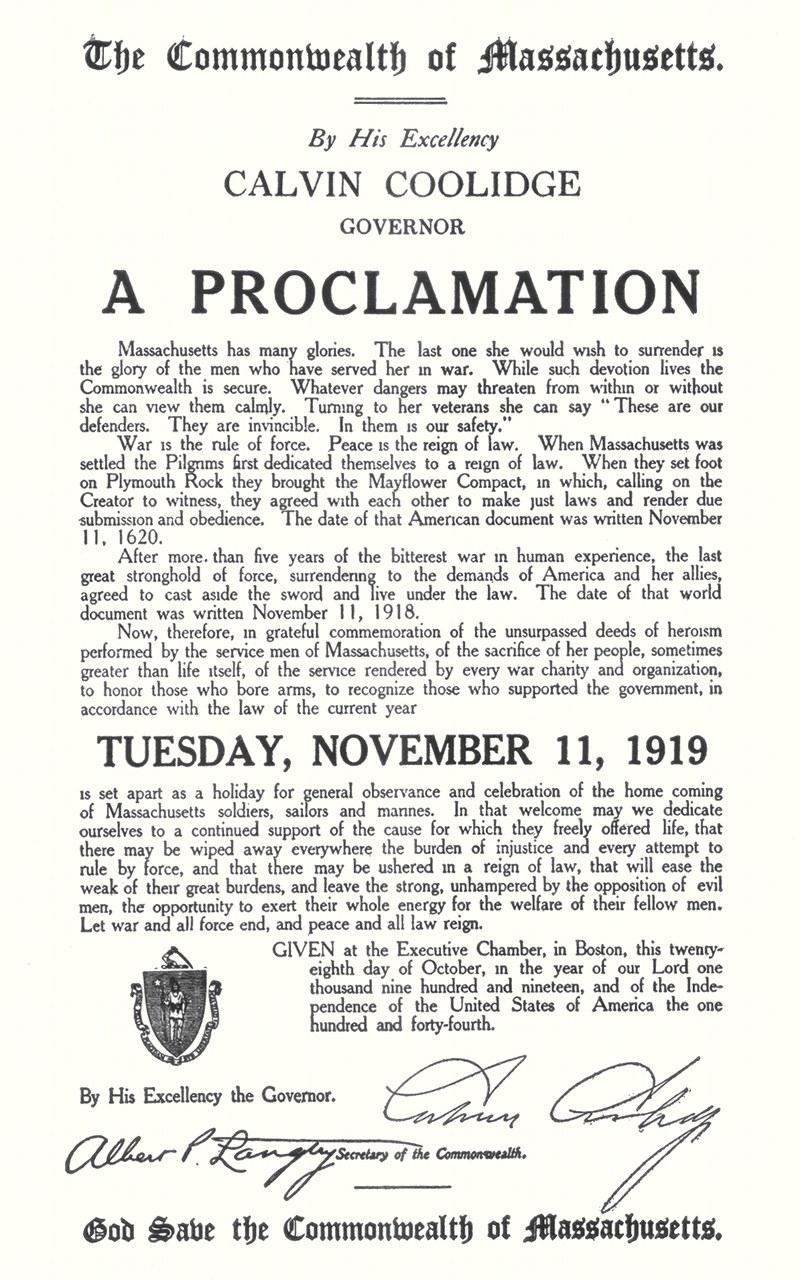 Coolidge Armistice Day Proclamation, Massachusetts, 11 November 1919