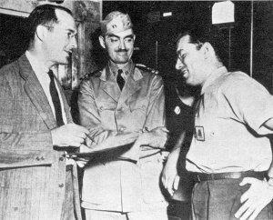 Robert A. Heinlein, L. Sprague de Camp, Isaac Asimov at Philadelphia Navy Yard, 1944