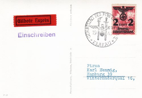 Postcard text - Hitler's Birthday in Krakau 20 April 1941: Nazi Postcard (small)
