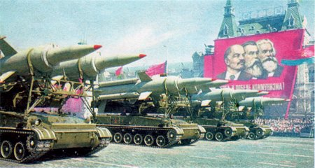 Soviet missile parade; banner with Lenin, Engels, Marx; 1966: Soviet Postcard (inset, small)