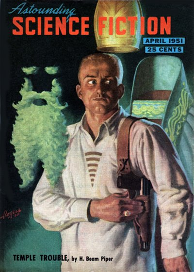 Temple Trouble, H. Beam Piper - Astounding April 1951 cover by Hubert Rogers (small)