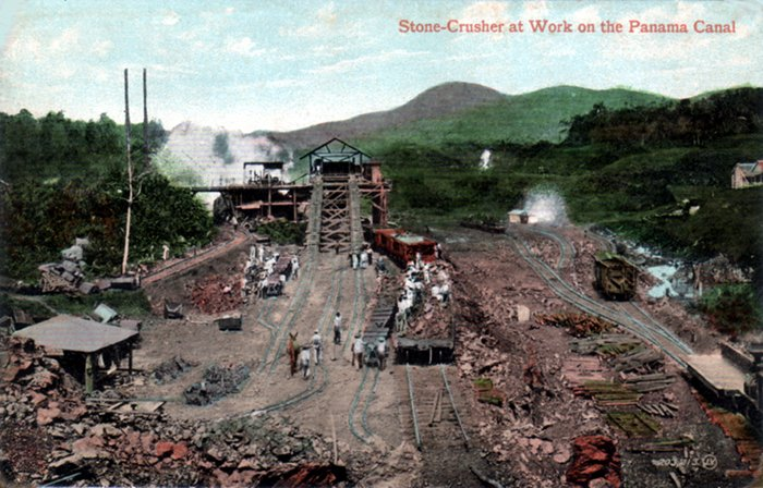 Stone-Crusher at Work on the Panama Canal, circa 1910