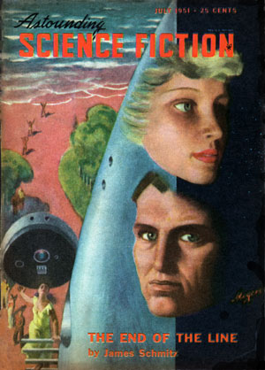 The End of the Line (ASF July 1951 cover) - Hubert Rogers - Schmitz (small)