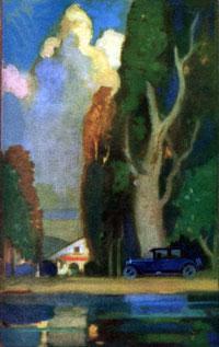 House, auto, trees - 1926