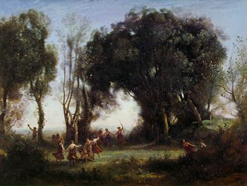 A Morning. The Dance of the Nymphs. - Camille Corot