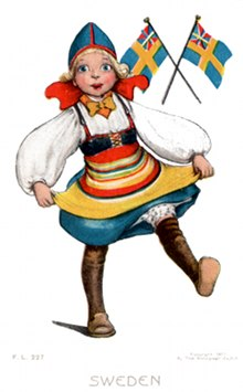 Postcard art - Swedish girl dancing, 1907