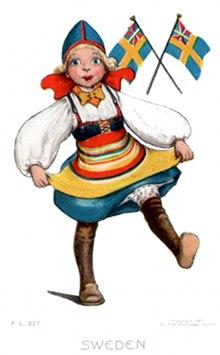 Postcard art - Swedish girl dancing, 1907