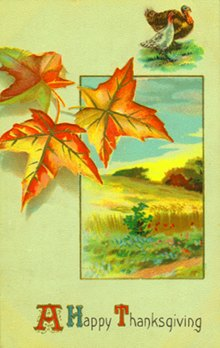 Postcard art - A Happy Thanksgiving: Thanksgiving leaves, landscape 1911 (small)