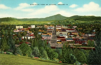 Postcard photo - Bird's-Eye View of Eugene, Oregon (small)