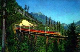 Olympian-Hiawatha train in Cascades